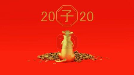 Photo pour Rat doré avec une pile de pièces d'or Année du Rat Chinois Zodiaque 2020 Illustration 3D Rendu - image libre de droit
