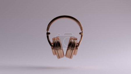 Photo pour Bronze Luxury Headphones Earphones 3d illustration 3d render - image libre de droit