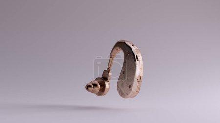 Photo pour Bronze Derrière l'oreille Prothèse auditive illustration 3d rendu 3d - image libre de droit