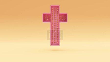 Photo pour Or rose Crème chaude Croix moderne Contexte Illustration 3D rendu - image libre de droit