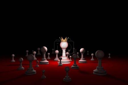 Secret society. Sect. Leader (chess metaphor). 3D render illustr