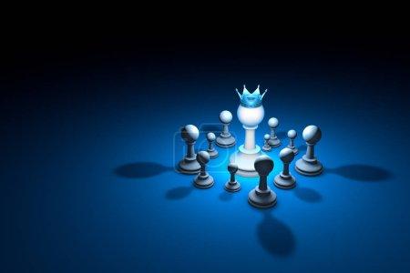 Strong team. Leader (chess metaphor). 3D render illustration. Fr