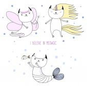Cute cat unicorn fairy mermaid