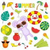 Summer stickers with koala