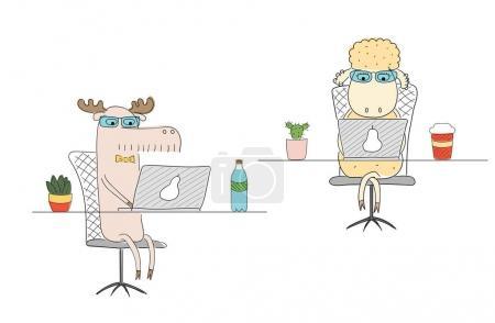 Illustration pour Dessin animé moutons et orignaux, illustration vectorielle - image libre de droit