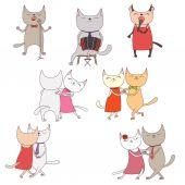 Cartoon funny cats doodles vector illustration