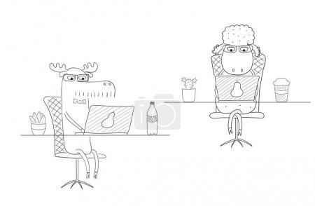 Illustration pour Illustration vectorielle noir et blanc dessinée à la main d'un drôle de mouton et d'orignal comme employés de bureau, au bureau avec un ordinateur portable. Dessin. Objets isolés sur fond blanc. Concept de conception du travail . - image libre de droit
