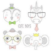 Cute animal boys portraits