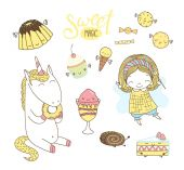 Cute hand drawn dessert doodles with unicorn and fairy