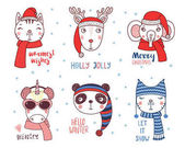 Cute animals in warm hats with quotes