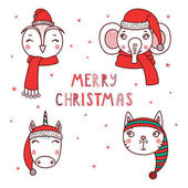 Cute animals in Santa hats