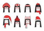 Cute girls in warm hats