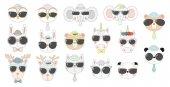 set of hand drawn animals in sunglasses