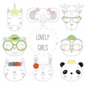 Set of hand drawn cute funny animal portraits with text