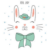 funny rabbit face in hat with bow