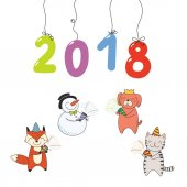 Hand drawn New Year 2018 greeting card with numbers hanging on strings and cute funny cartoon animals