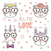 Cute animals in heart shaped glasses
