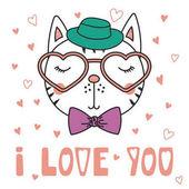 Cute cat in heart shaped glasses