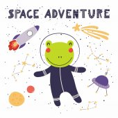 card with hand drawn in scandinavian style of cute funny frog in space with rocket and ufo with lettering quote Space adventure vector illustration