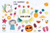 Big set of cute funny animals and summer design elements and quotes Isolated objects on white background Vector illustration Scandinavian style flat design Concept for children print