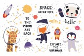 Big set of cute funny animal astronauts in space with planets stars quotes Isolated objects on white background Vector illustration Scandinavian style flat design Concept for children print