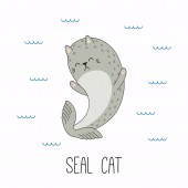Hand drawn vector illustration of kawaii funny cat seal swimming in sea Design concept for children print