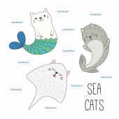 Hand drawn kawaii funny cat mermaid and stingray with seal swimming in sea Design concept for children print vector illustration