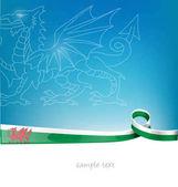 Wales ribbon flag on blue sky background