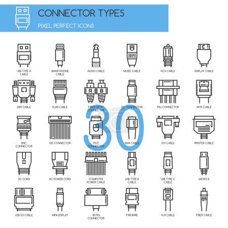 Connector Types , Thin Line and Pixel Perfect Icons