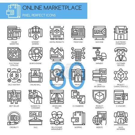 Illustration pour Marché en ligne, ligne mince et icônes Pixel Perfect - image libre de droit