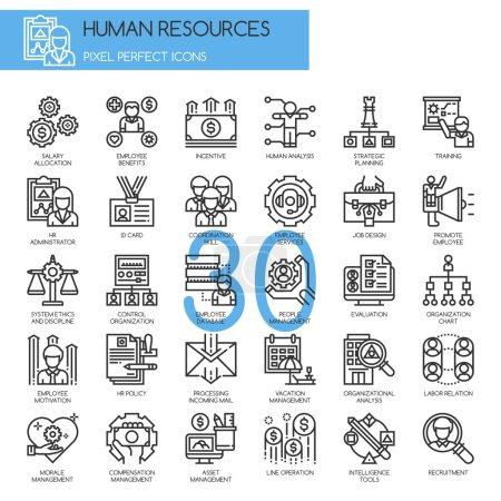 Illustration pour Ressources humaines, ligne mince et icônes Pixel Perfect - image libre de droit
