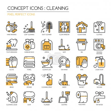 Illustration for Cleaning thin line icons set , Pixel Perfect Icons - Royalty Free Image