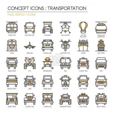 Transportation Thin Line Icons