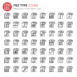 File Format Type Icons set, Thin Line and Pixel Ic...