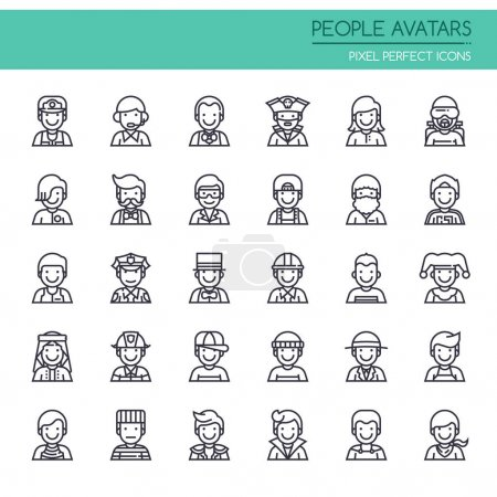 Photo for People Avatars , Thin Line and Pixel Perfect Icons - Royalty Free Image