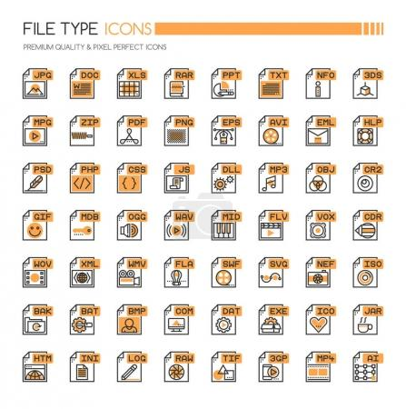 File Type Icons , Thin Line and Pixel Perfect Icon...