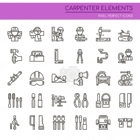 Carpenter Elements , Thin Line and Pixel Perfect Icon