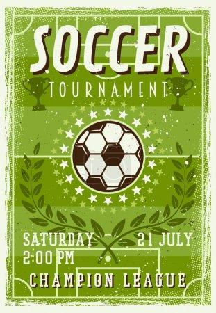 Soccer tournament invitation vintage poster