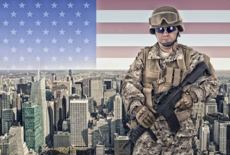 Soldier in New York city