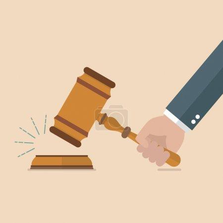 Illustration pour Main tenant les juges marteau. Illustration vectorielle - image libre de droit