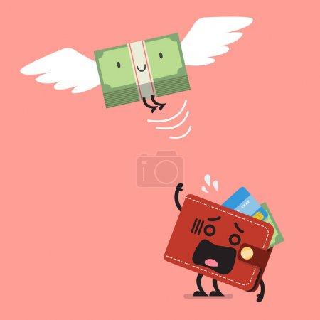 Illustration pour Un billet d'argent qui sort de son portefeuille. Concept d'entreprise - image libre de droit