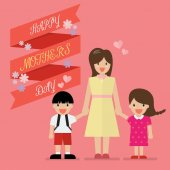 Mother with her children with happy mothers day banner