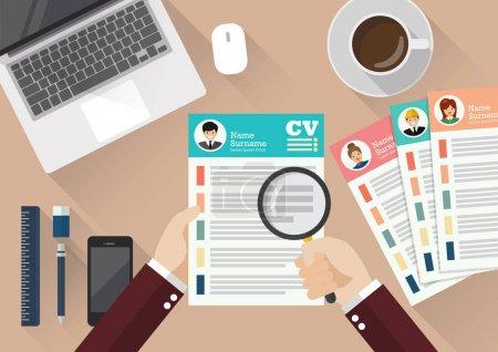 Illustration pour Écriture manuscrite Curriculum Vitae application paper sheet. Illustration vectorielle de style plat - image libre de droit