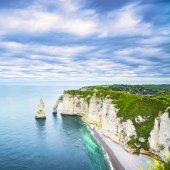 Etretat Aval cliff and rocks landmark and ocean . Normandy, Fran