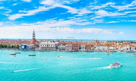 Venice panoramic landmark, aerial view of Piazza S...