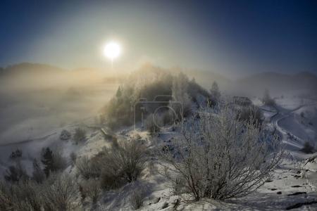 beautiful winter mountain landscape, Fundatura Ponorului, Romania