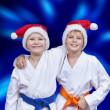 Children sportsmen on blue glow background...