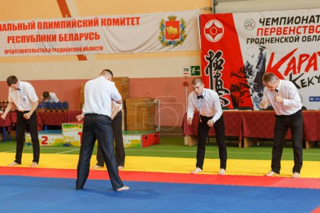 Change the referees in the championship among juniors of the Grodno region Kyokushin karate