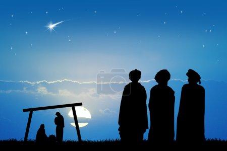 Photo pour Illustration des trois rois mages, dans le désert au coucher du soleil - image libre de droit