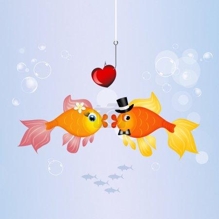 Photo pour Illustration de poissons rouges dans l'eau - image libre de droit